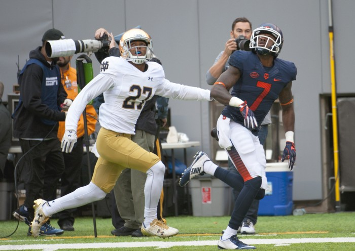 Irish freshman defensive back Julian Love tracks the incoming pass during Notre Dame's 50-33 victory over Syracuse on Saturday at MetLife Stadium.