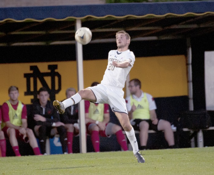 Irish junior midfielder Blake Townes looks to corral a loose ball during Notre Dame's 4-0 victory over Indiana on Tuesday at Alumni Stadium.