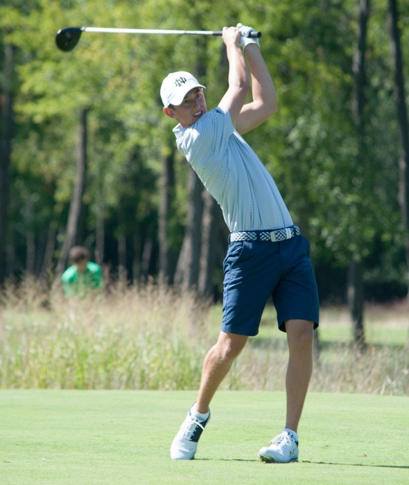 Junior Thomas Steve drives the ball off the tee with authority during the Notre Dame Kickoff Challenge on Sept. 3 at Warren Golf Course.