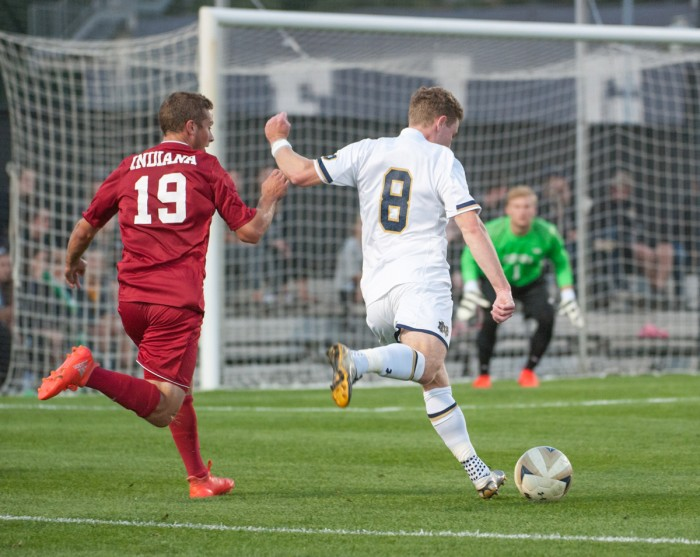 Irish junior forward Jon Gallagher lines up a shot during Notre Dame's 4-0 victory over Indiana on Oct. 4 at Alumni Stadium.