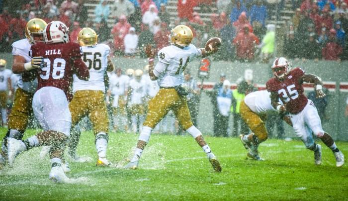 Notre Dame junior quarterback DeShone Kizer winds up to pass during Saturday's 10-3 loss to North Carolina State.