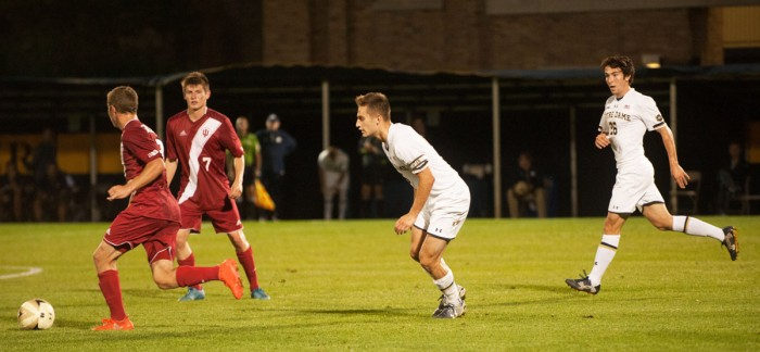Irish senior midfielder Irish senior midfielder Mark Gormley scans the field during Notre Dame's 4-0 victory over Indiana on Oct. 4 at Alumni Stadium.