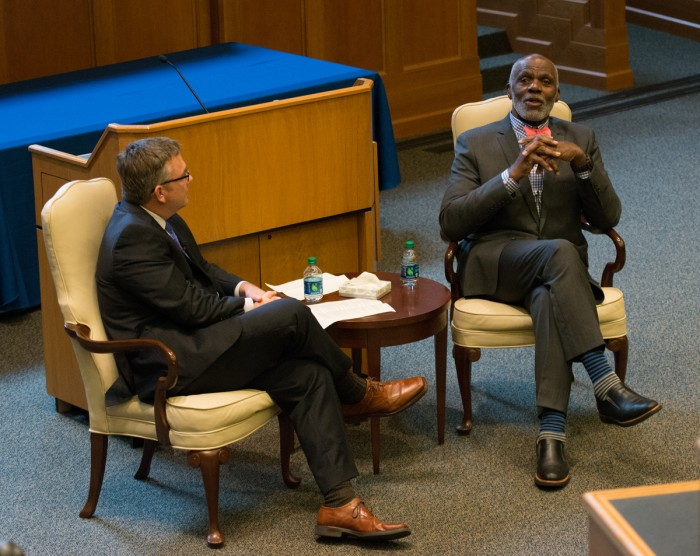 Former Minnesota Supreme Cour justice and Notre Dame alum Alan Page responds to a question from Mark McKenna, associate dean for faculty research and development in the Law School.