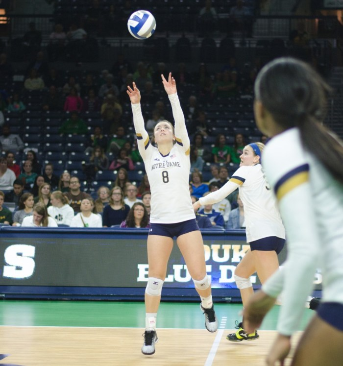 Irish junior setter Caroline Holt sets the ball during Notre Dame's 3-1 victory over Duke on Sept. 30 at Purcell Pavilion.