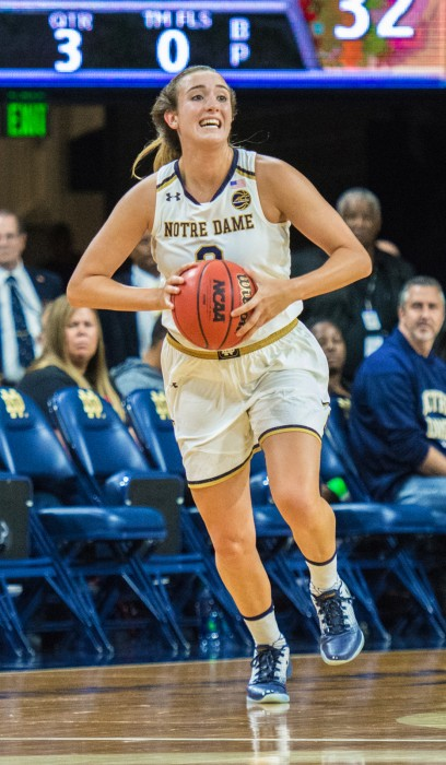 Irish sophomore guard Marina Mabrey passes the ball upcourt during Notre Dame's 129-50 win over Roberts Wesleyan on Thursday at Purcell Pavilion.