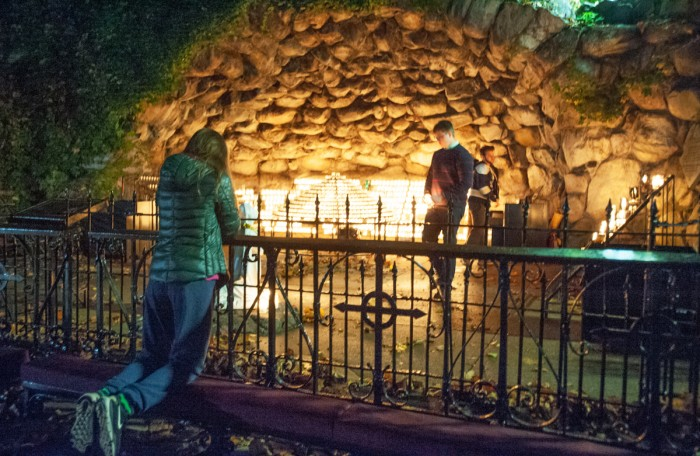 Many students gathered at the Grotto throughout the night to reflect on the night's results.