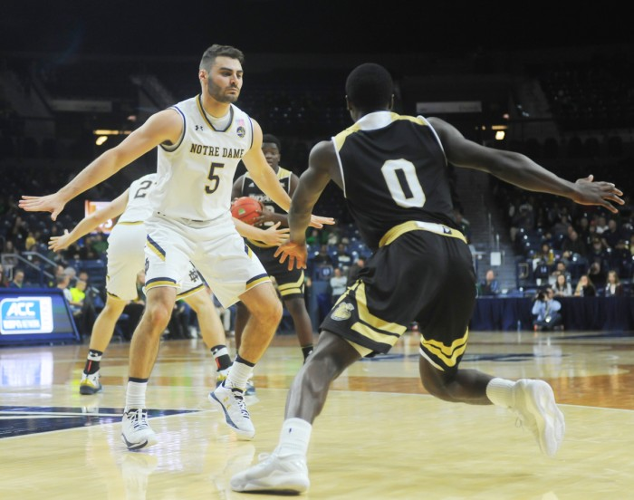 Notre Dame junior guard Matt Farrell, who was named MVP of the Legends Classic after scoring a game-winning shot, plays defense during an 89-64 victory over Bryant on Nov. 12 at Purcell Pavilion.