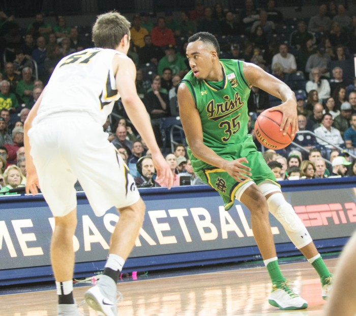 Irish junior forward Bonzie Colson looks to pass during Notre Dame's 92-78 win against Iowa on Tuesday in Purcell Pavilion. Colson had a career-high 17 rebounds and 22 points in the victory.