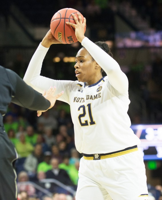 Irish senior forward Kristina Nelson surveys the court during Notre Dame's 71-60 win over Washington on Nov. 20 at Purcell Pavilion.