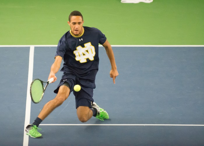 Irish sophomore Grayson Broadus stretches for a shot during Notre Dame's 5-2 victory over Duke on March 18.
