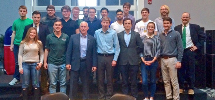 Former governor Mike Pence joins College Republicans for a luncheon event last school year.