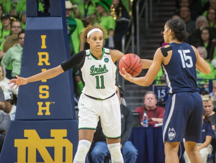 Irish junior forward Brianna Turner positions in front of the ball-handler in Notre Dame's 72-61 loss to UConn on Dec. 7.