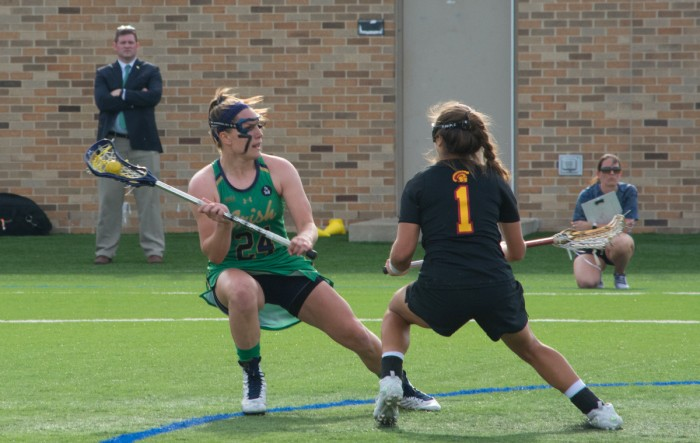 Irish senior midfielder Casey Pearsall looks to pass during Notre Dame's 5-4 loss to USC on April 18.
