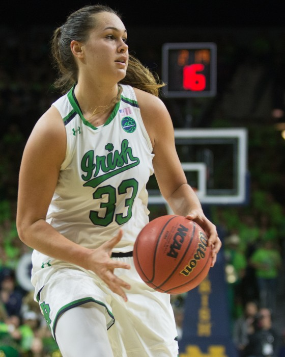 Irish junior forward Kathryn Westbeld dribbles up the court during Notre Dame's 72-61 loss to UConn on Dec. 7 at Purcell Pavilion.