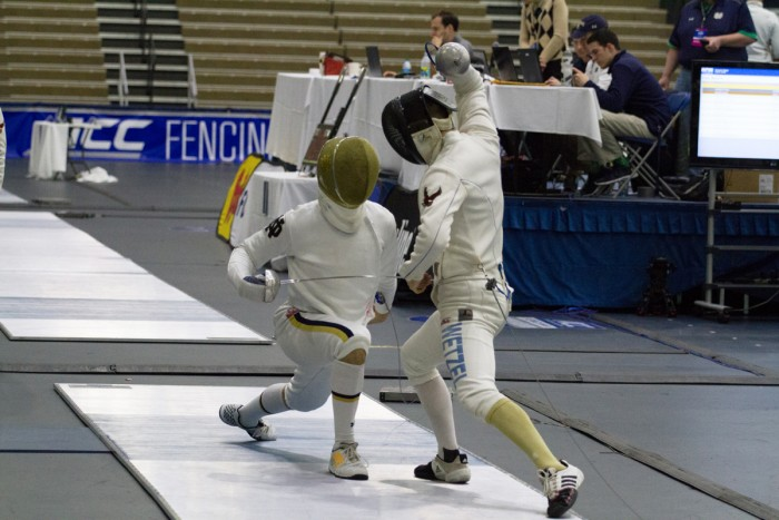 Irish sophomore Dylan French lunges at his opponent during the ACC championship on Feb. 28 at Castellan Family Fencing Center. The Irish men's team defeat Boston College 23-4 and won the ACC title.