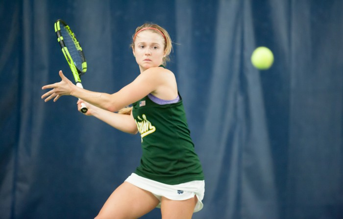 Irish senior Monica Robinson prepares to hit a forehand during Notre Dame's 5-2 win over Purdue on Feb. 22 at Eck Tennis Pavilion.