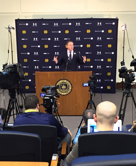 Irish head coach Brian Kelly addresses the media on National Signing Day in Isban Auditorium on Wednesday.