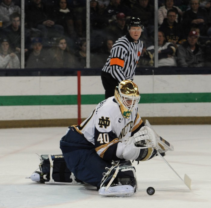 Irish junior goalie Cal Peterson stretches out to make a save during Notre Dame's 2-2 tie with New Hampshire on Jan. 20.