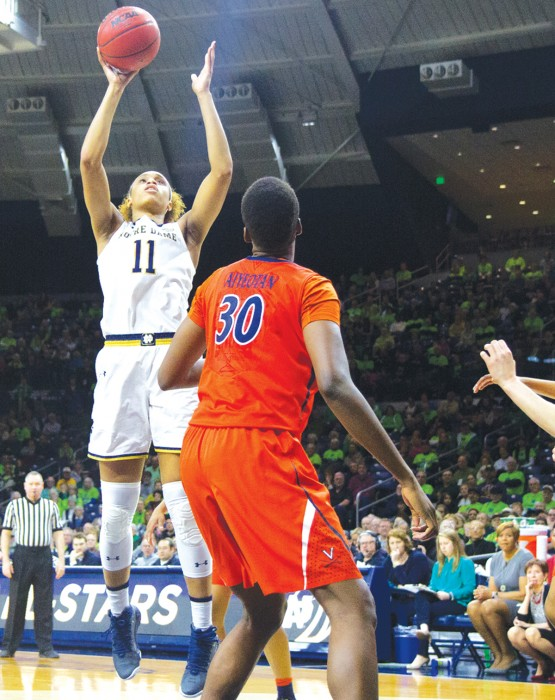 Irish junior forward Brianna Turner shoots a jumper in Notre Dame's 82-74 victory over Virginia on Jan. 29 at Purcell Pavilion.