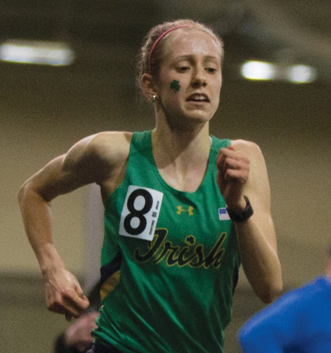 Irish sophomore Anna Rohrer competes in the 3,000-meter race at Loftus Sports Complex on Saturday.