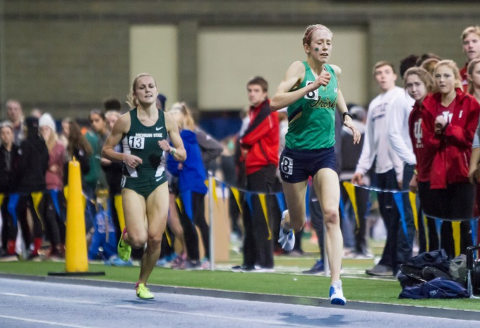 Irish sophomore Anna Rohrer competes in the 3000-meter run of the Meyo Invitational on Feb. 4 at Loftus Sports Center.