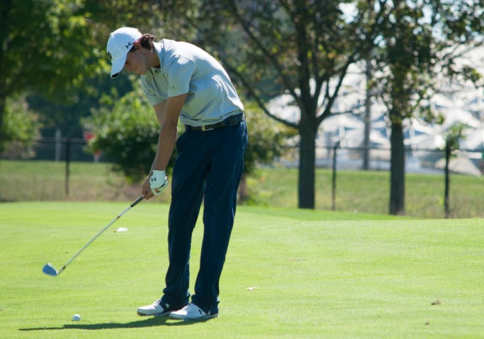 Irish freshman Davis Lamb strikes the ball during the Notre Dame Kickoff Challenge on Sept. 3 at Warren Golf Course.