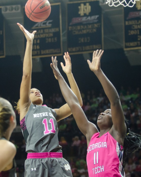 Irish junior forward Brianna Turner attempts a jumper during Notre Dame's 90-69 win over Georgia Tech on Sunday.