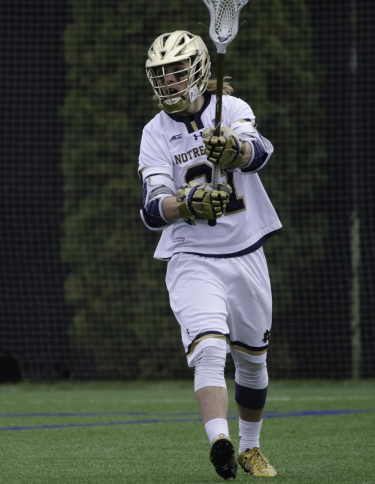 Irish sophomore attack Ryder Garnsey passes the ball during Notre Dame's 8-6 win over Duke on April 10 at Arlotta Stadium.
