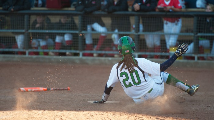 Irish junior infielder Karley Wester slides into home plate during Notre Dame's exhibition game against UIC on Oct. 9.