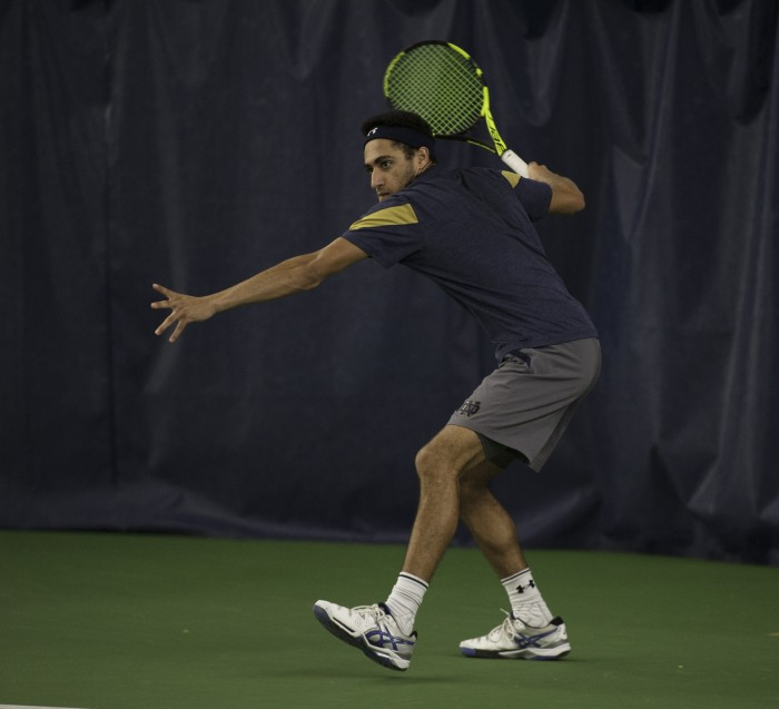 Irish sophomore Grayson Broadus prepares to hit a forehand during Notre Dame's 4-1 win over Northwestern on Feb. 24 at Eck Tennis Pavilion. Broadus lost his doubles match to the Wildcats.