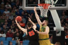 Irish junior forward Martinas Geben contests a shot during Notre Dame's 60-58 victory over Princeton on Thursday at KeyBank Arena. With the win, the Irish advance to the Round of 32 for the third straight year.