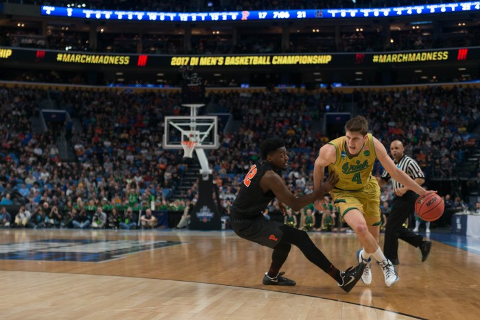 Irish sophomore forward Matt Ryan attempts to get around a defender during Notre Dame's 60-58 victory over Princeton on Thursday at KeyBank Arena.