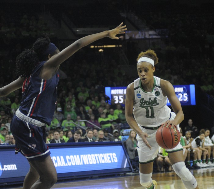 Irish junior forward Brianna Turner drives down the lane during Notre Dame's 79-49 win over Robert Morris on Friday at Purcell Pavilion.