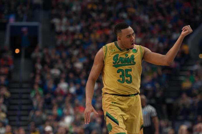 Irish junior forward Bonzie Colson celebrates after making a shot during Notre Dame's 83-71 loss to West Virginia on Saturday at KeyBank Arena.