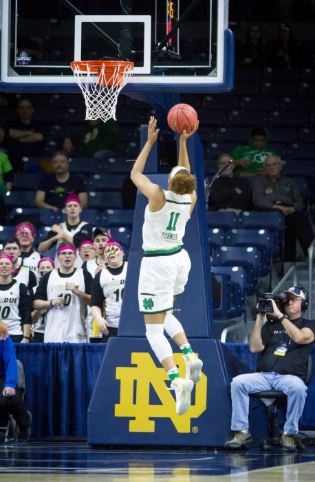 Irish junior forward Brianna Turner goes up for the layup during Notre Dame's 88-82 win over Purdue on Sunday at Purcell Pavilion.