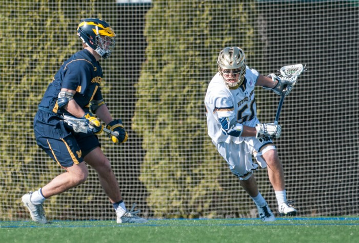 Irish sophomore attack Ryder Garnsey charges the goal during Notre Dame's 16-5 victory over Michigan on Feb. 26 at Arlotta Stadium.