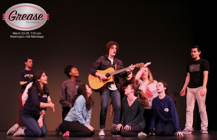 "Cast members of the Pasquerilla East Musical Company's, ""Grease,"" which has showings Thursday to Saturday, practice ""Those Magic Changes,"" one of the show's musical numbers."