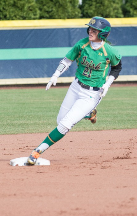Senior outfielder Karley Wester rounds second base during Notre Dame's 15-4 loss to Florida State on March 4, 2016.