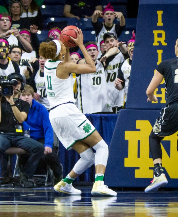 Irish junior Brianna Turner goes up for the layup moments before injuring herself during Notre Dame's 88-82 win over Purdue.