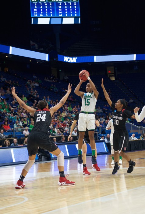 Irish senior guard Lindsay Allen pulls up for a jumper during Notre Dame's 76-75 loss to Stanford on Sunday at Rupp Arena.