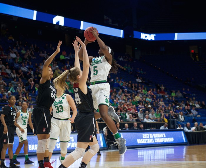 Irish freshman guard Jackie Young drives towards the basket for a layup during Notre Dame's 76-75 loss to Stanford on Sunday at Rupp Arena.