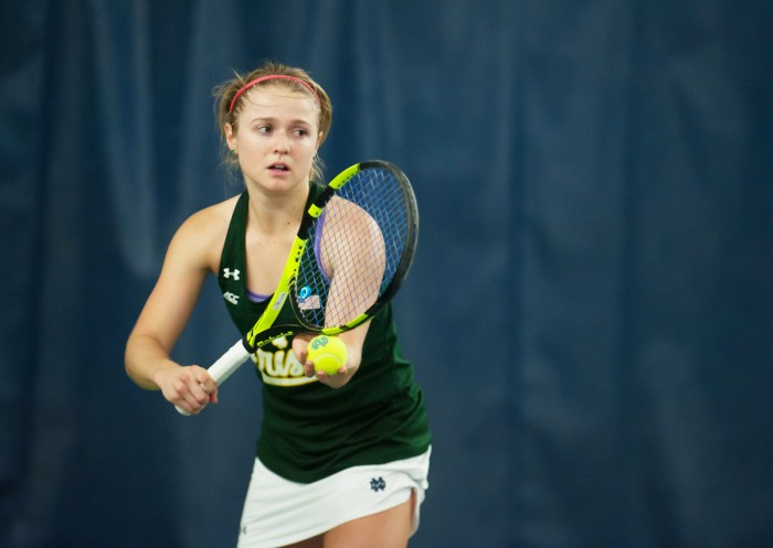 Irish senior Monica Robinson prepares to serve the ball during Notre Dame's 5-2 win over Purdue on Feb. 22 at Eck Tennis Pavilion. Robinson picked up her first win over a top-50 opponent of the season during Notre Dame's 5-2 win over Miami on Sunday.
