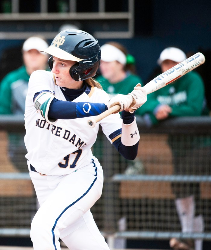 Irish sophomore outfielder Ali Wester swings at a pitch during Notre Dame's 1-0 win over Eastern Michigan on March 29 at Melissa Cook Stadium.