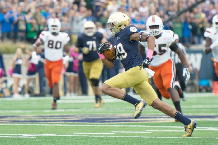 Sophomore wide receiver Kevin Stepherson cuts upfield after catching a pass during Notre Dame's 30-27 win over Miami on Oct. 29.