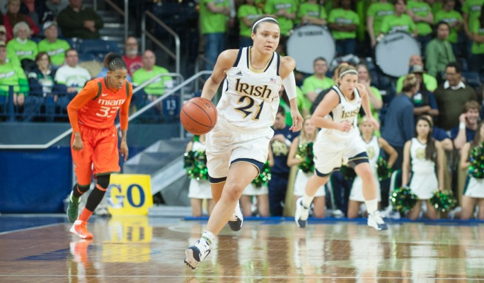 Former Irish guard Kayla McBride dribbles the ball up the court during Notre Dame's 72-59 win over  Miami on Jan. 23, 2014 at Purcell Pavilion. McBride currently plays for the San Antonio Stars.