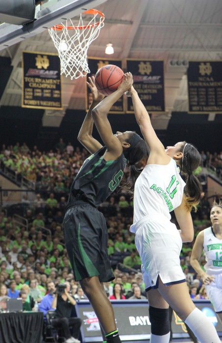 Former Irish forward Natalie Achonwa blocks a shot during Notre Dame's 88-69 win over Baylor in the Elite Eight of the NCAA tournament on March 31, 2014.  Achonwa currently plays for the Indiana Fever.