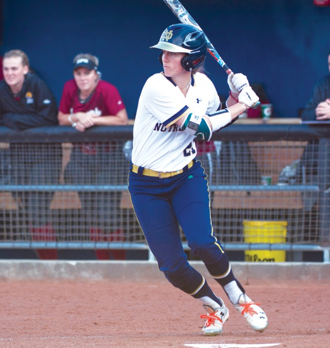 Irish senior center fielder Karley Wester waits for a pitch during Notre Dame's 13-4 win over IUPUI on April 12.