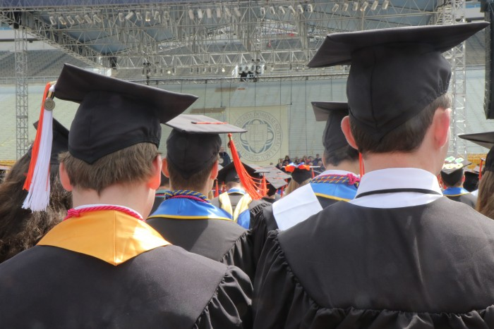 Students sit through the 2017 Commencement ceremony. While the walkout drew national attention, most students and family members did not participate.
