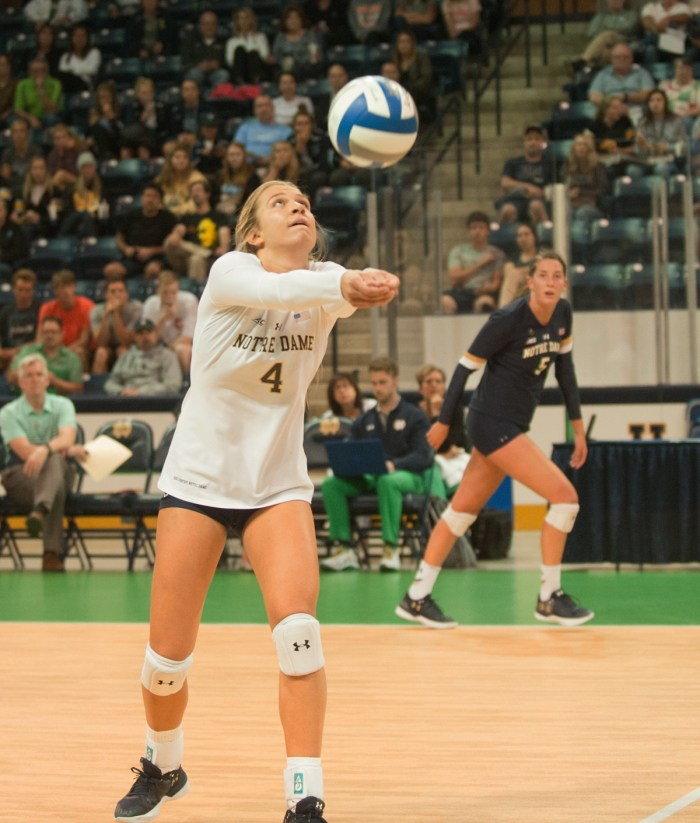 Junior libero Ryann DeJarld sets up a return during Notre Dame's 3-1 win over Valparaiso on Friday at Compton Family Ice Arena.