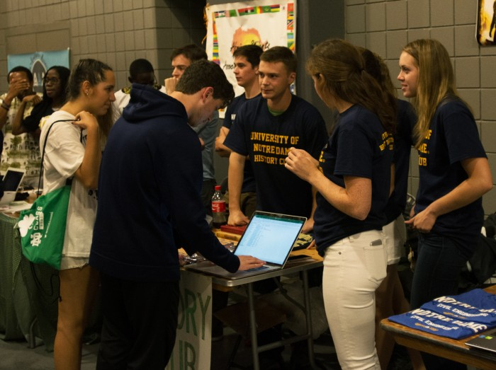 Students sign up for club email lists at the  activities night. The event, which was sponsored by the Student Activities Office featured over 450 clubs.
